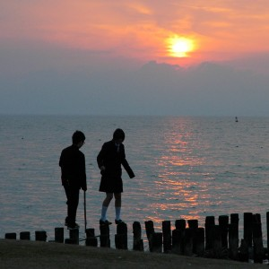coucher de soleil sur le Shinji-ko, Matsue