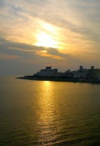 coucher de soleil sur le lac Shinji, Matsue