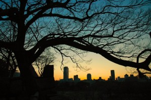coucher de soleil sur Osaka