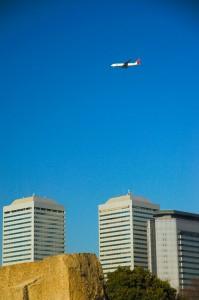 Avion au dessus d'Osaka